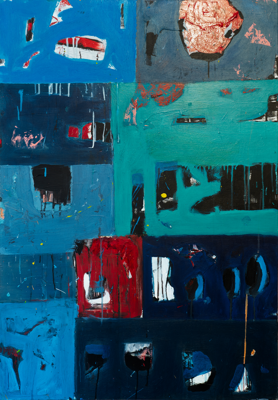 peinture abstraite noire et bleu acrylique sur toile