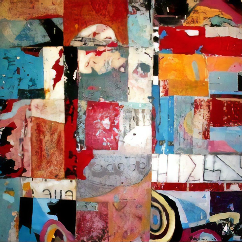 peinture abstraite acrylique et huile sur plaque de fer et collage