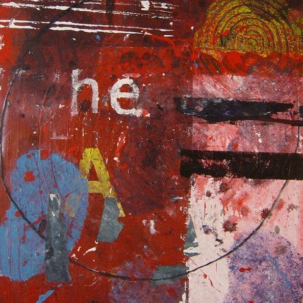 peinture abstraite acrylique sur toile et collage