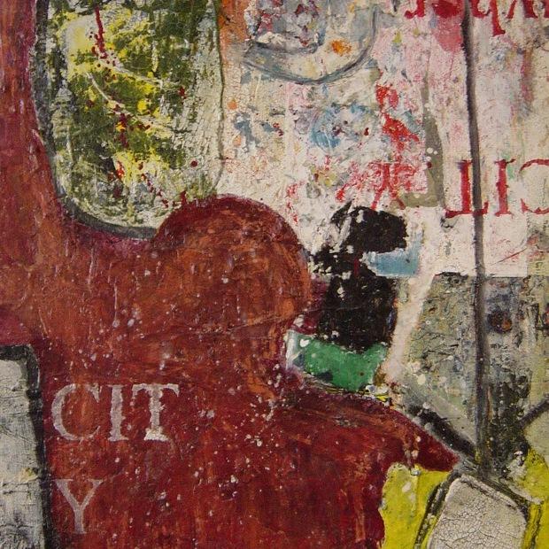 peinture abstraite à l'huile et acrylique sur toile et collage