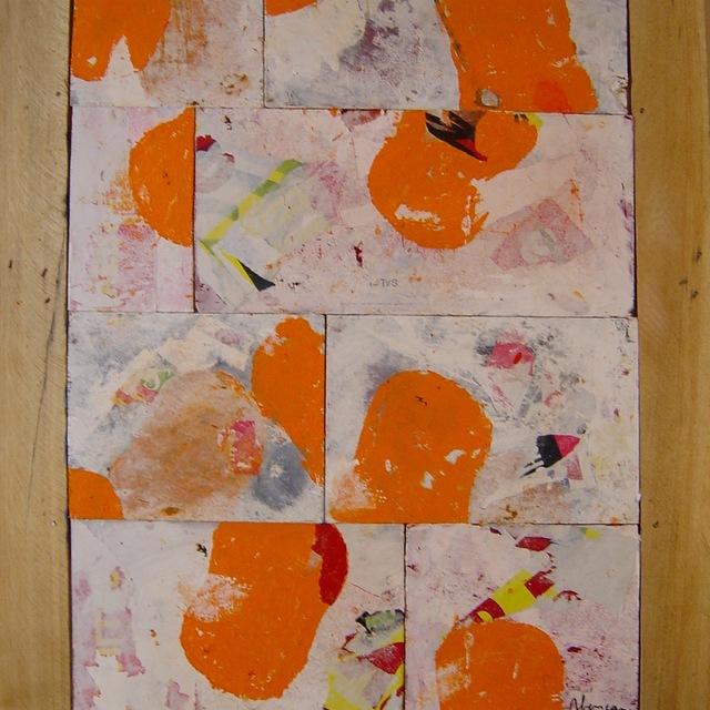 peinture abstraite acrylique blanche et orange sur panneaux de bois