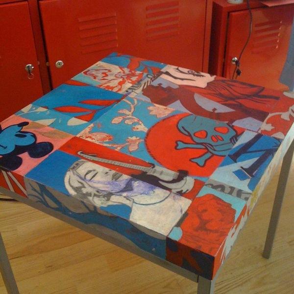 table basse décorés à la peinture acrylique