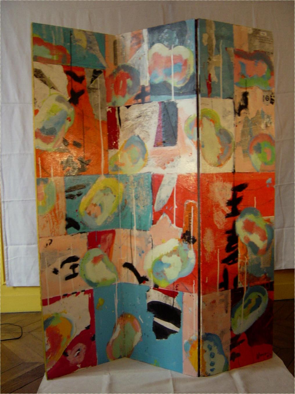 Paravent décoré de peinture acrylique