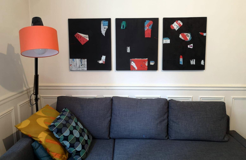 Composition de trois tableaux noirs