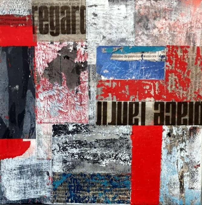 Peinture abstraite technique mixte