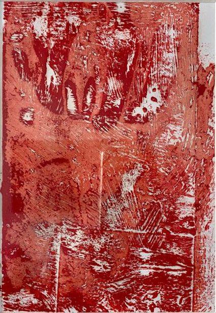 tableau rouge Impression d'acrylique obtenue par apposition de papier sur mes autres tableaux / 21 X 30 cm (vendu / sold) upcycling recyclage