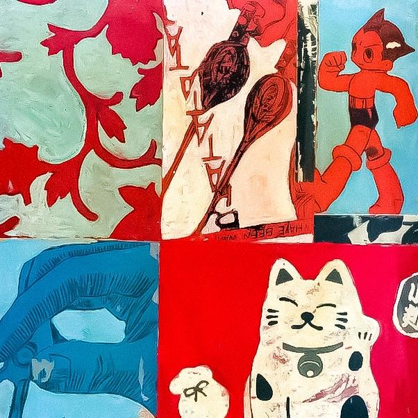 Plateau de table décoré de motifs en acrylique d'inspiration manga, bande dessinée mobilier design, mobilier d'art pop art