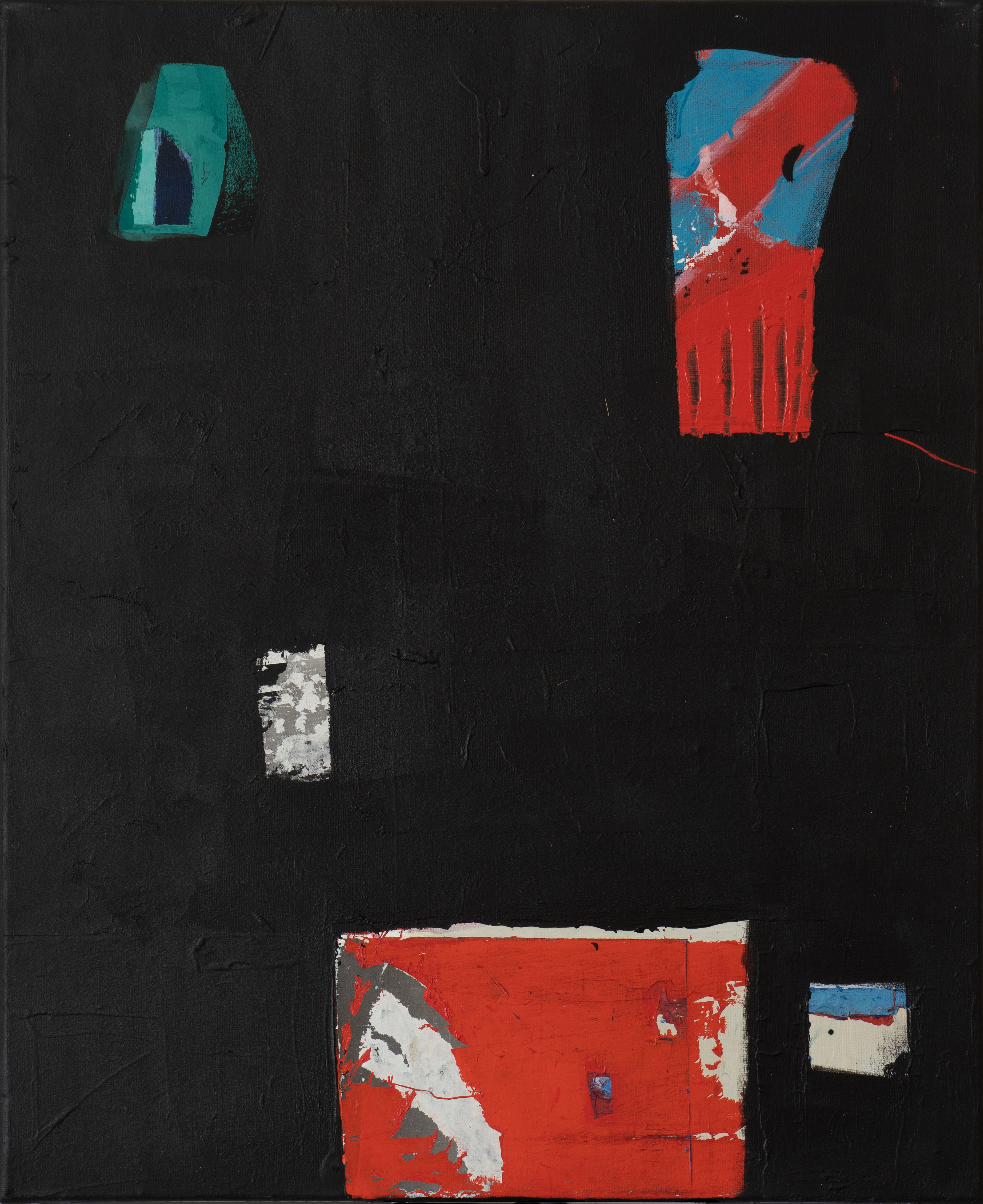 tableau noir hommage Soulages Acrylique et collage sur toile (50 x 60 cm)