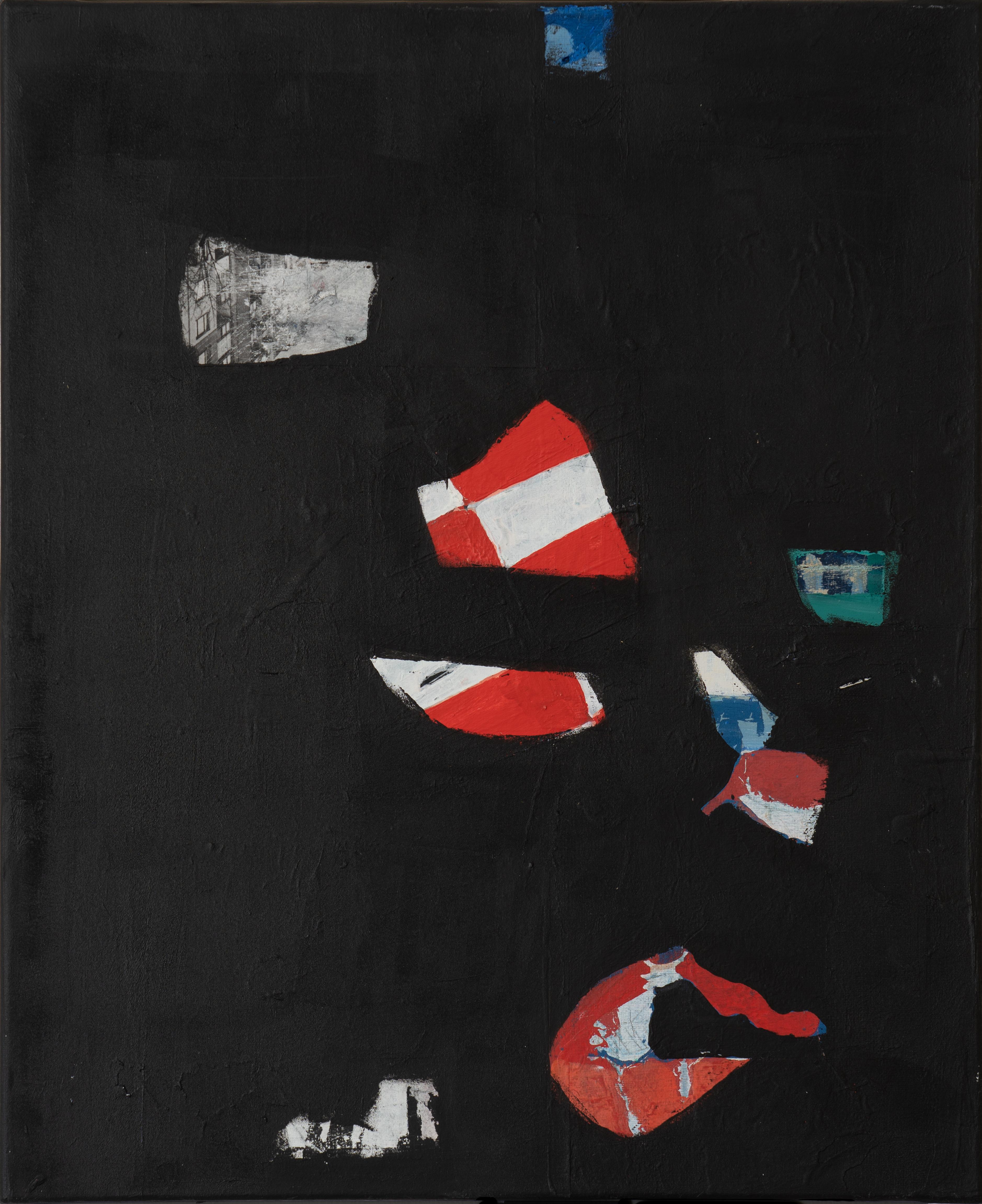 Acrylique et collage sur toile (50 x 60 cm) hommage Soulages