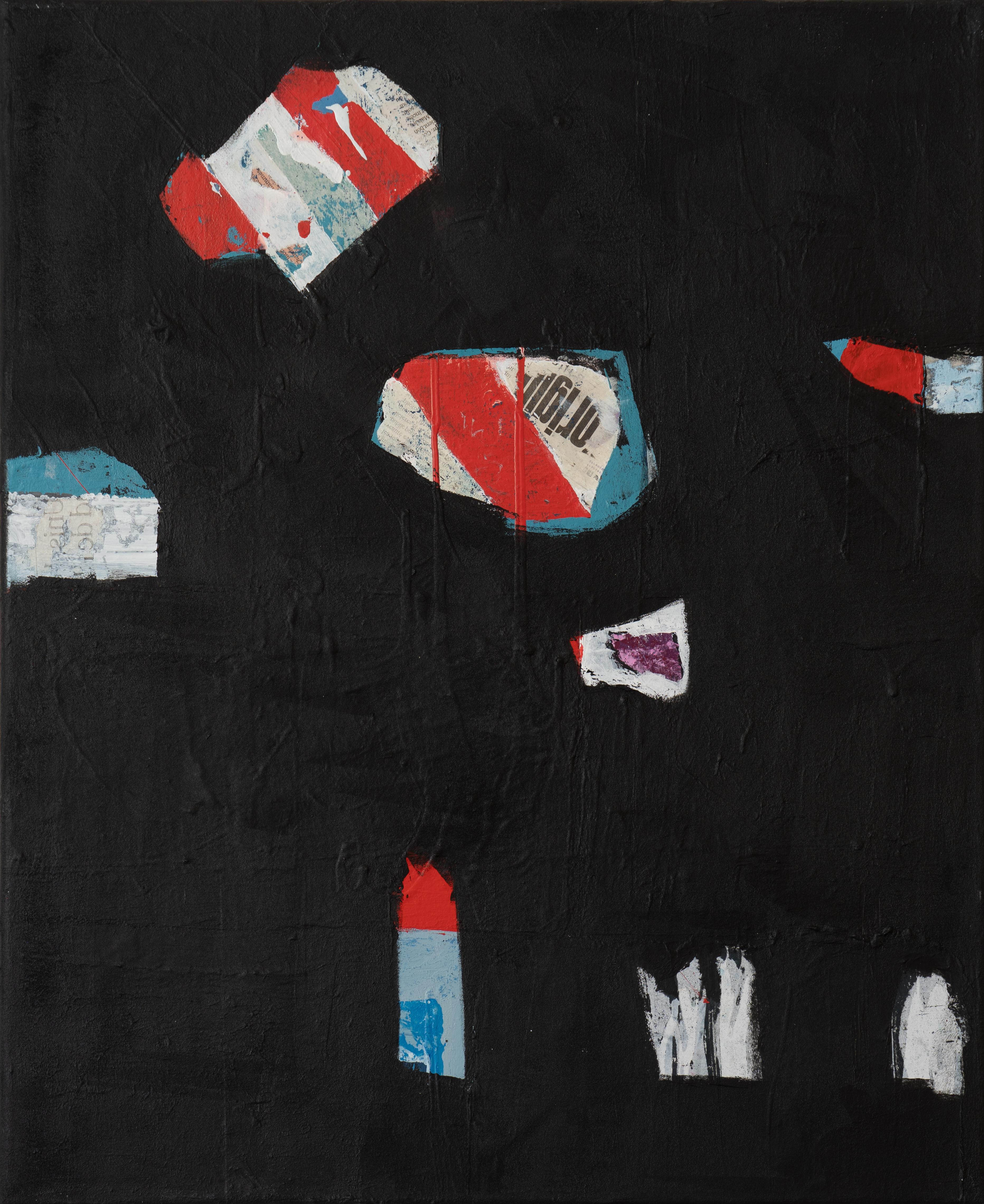 tableau noir Acrylique et collage sur toile (50 x 60 cm) hommage Soulages
