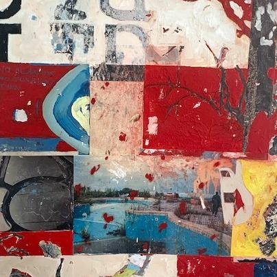 Tableau art abstrait technique mixte collage et acrylique sur toile
