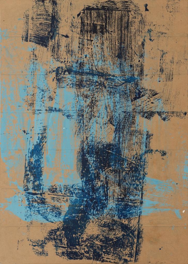 Impression d'acrylique apposé sur mes autres tableaux sur papier collé à panneau de bois (50 x 70 cm) recyclage upcycling