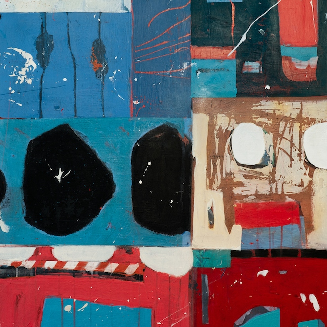 Peinture abstraite acrylique et collage