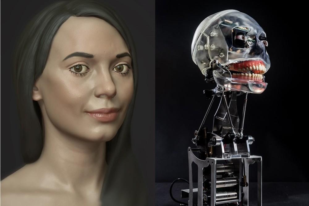 Ai-Da visage humain et robotique